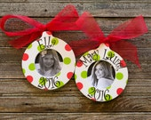 Personalized Polka Dot Christmas Picture Frame Ornament, Red & Green Dots, Christmas Gift Idea, Children's Ornament, Monogram, Circle Frame