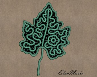 MACHINE EMBROIDERY DESIGN - Richelieu cutwork Leaf