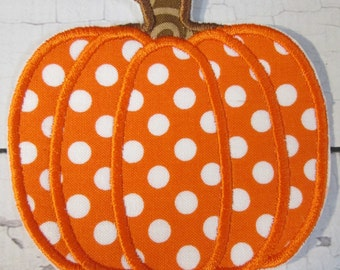 Ready To Ship in 3-5 Business Days - Fall, Halloween or Thanksgiving Pumpkins - Iron On or Sew On Embroidered Appliques