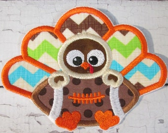 Ready To Ship in 3-5 Business Days -Thanksgiving Baby Turkey with Turkey - Iron On or Sew On Embroidered Applique