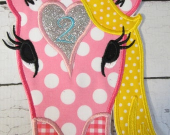 Ready To Ship in 5 Business Days - Iron On or Sew On Embroidered Applique - Heart Horse Birthday Two