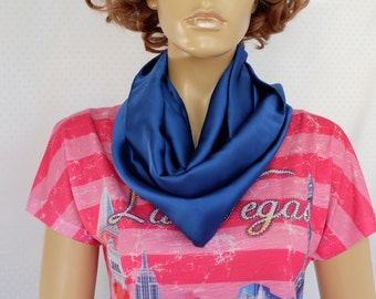 Ultramarine blue silk-satin scarf
