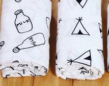 Muslin swaddle blankets/baby blanket/6 designs to choose