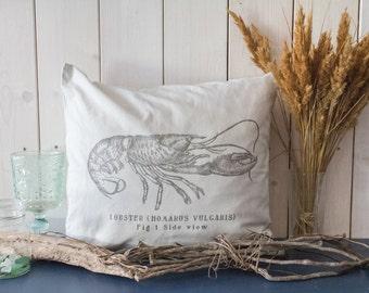 "Pillowcase ""Lobster"" (light grey, 100% cotton)"