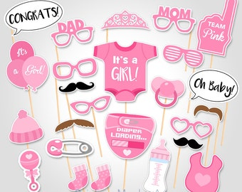 Baby Shower Photo Props  - It's a Girl Baby PhotoBooth Props - Printable Photobooth Props - Team Pink Baby Girl Printable Photobooth Props