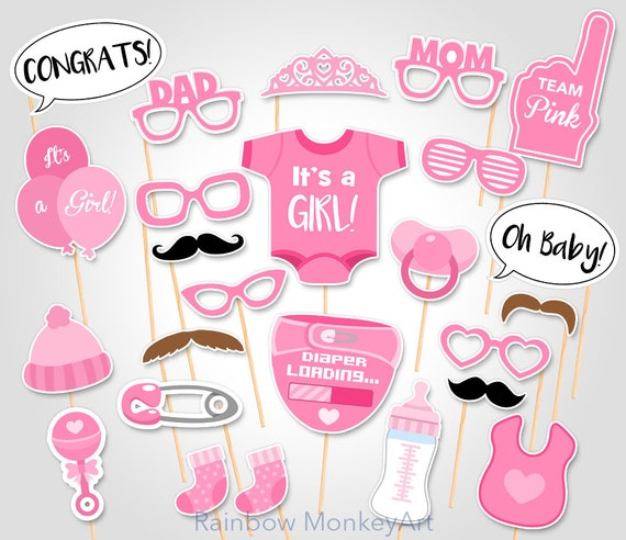 Baby Shower Photo Props   Itu0027s A Girl Baby PhotoBooth Props   Printable Photobooth  Props   Team Pink Baby Girl Printable Photobooth Props