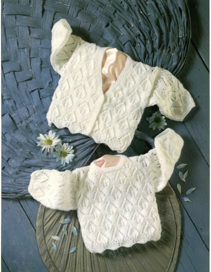 Knitting Pattern Lace Jacket : Knitting pattern baby lace jacket cardigan sweater jumper PDF