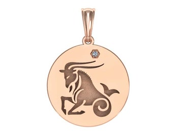 Capricorn Necklace, Zodiac Jewelry, Zodiac Necklace, Gold Necklace, Rose Gold Jewelry, White Gold necklace, Solid Gold Zodiac Necklace