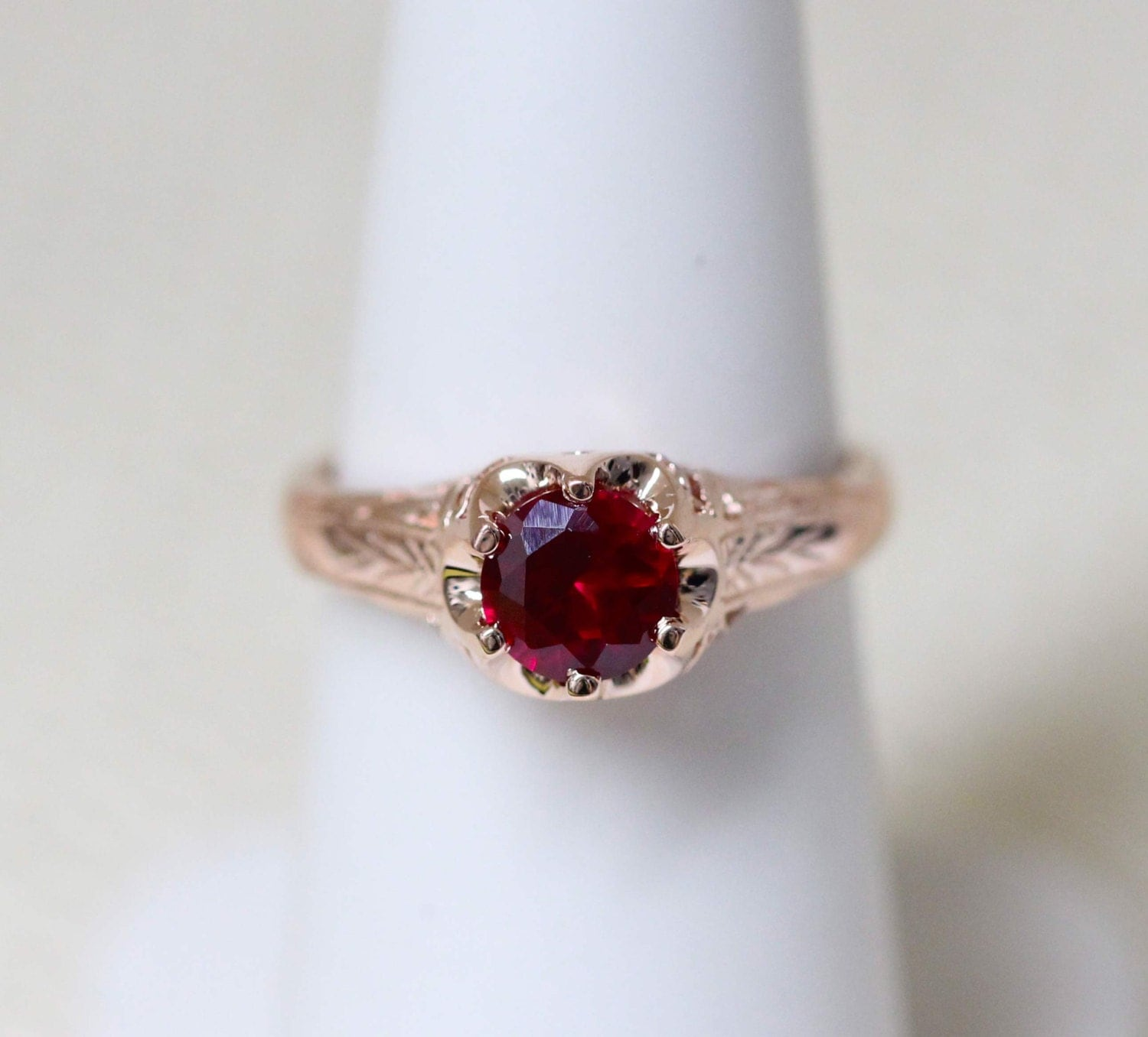 antique style ruby solitaire 14k rose gold ring antique. Black Bedroom Furniture Sets. Home Design Ideas
