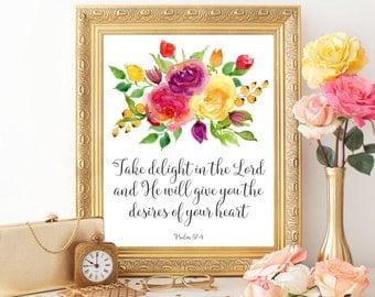 Bible verse printable Psalm 37:4 Bible verse print Christian wall art printable Bible quote print Scripture print digital Watercolor flowers