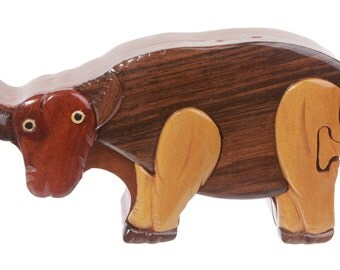 Handcrafted Wooden Ox Shape Secret Jewelry Puzzle Box - Ox(WHE2240)