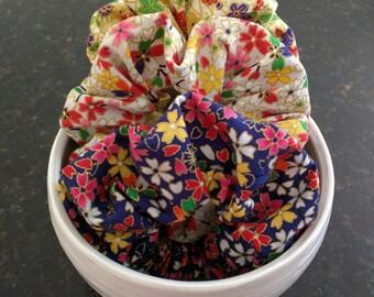 Bestseller! Beautiful handmade Japanese fabric scrunchies/手作りの和柄シュシュ