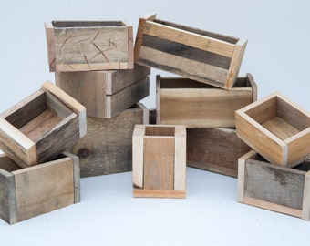 Assorted Reclaimed Boxes for Centerpieces, Decor, or Planters