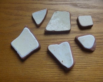 sea pottery, terracotta shards (6) Scottish sea pottery