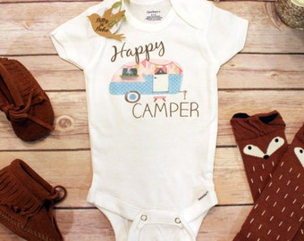 Happy Camper Onesie®, Baby Girl Clothes, Baby Shower Gift, Boho Baby Clothes, Camping Onesie, Cute Baby Clothes, Cute Onesies, Hippie Baby