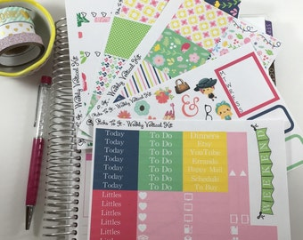 Navy Spring Floral Weekly Kit Mambi Happy Planner Stickers ECLP Girly Check Lists Daily Boxes