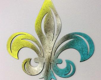 Rustic Scrolled Fleur De Lis, Metal tri color Lime Green/Yellow, Silver, Teal Finish, #FDLL101TC