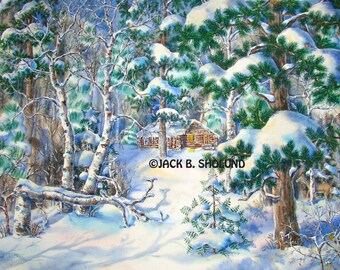 Winter Cabin Among The Pines Nature Scenery Watercolor Notecard