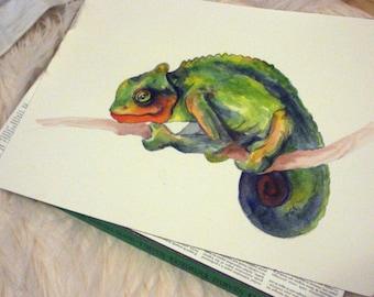 Chameleon - original watercolor painting