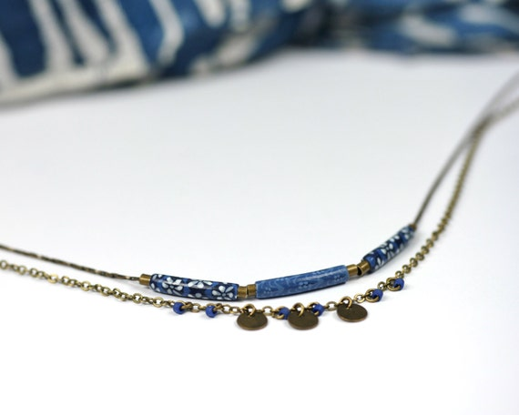 Indigo blue boho necklace 'Abelia' double brass chain with two handmade floral patterns and bronze sequins