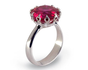CROWN Silver Promise Ring for Her, Ruby Engagement Ring, Large Ruby Ring, Silver July Birthstone Ring, Ruby Statement Ring