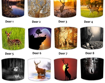 Deer Stag Forest Print Lamp shades, To Fit Either a Table Lamp base or a Ceiling Light Fitting.