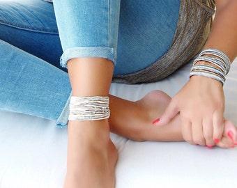 BEIGE wrap versatile bracelet with swarovski crystals