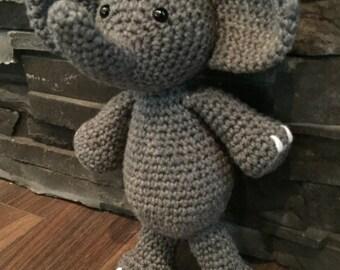 Crochet Elephant Stuffie, Crocheted Elephant, Amigurumi, Elephant Plushie, Toy Elephant, Stuffed Elephant