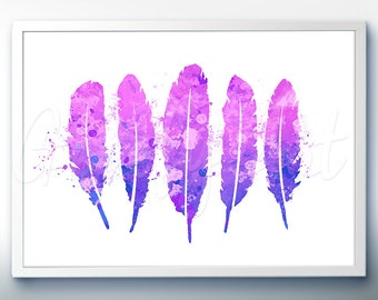 Feathers Art Watercolor Art Print  - Watercolor Painting - Feather Watercolor Art Painting  - Home Decor - House Warming Gift [5]