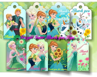 Frozen Fever Inspired Tags Elsa Anna Tags Frozen Fever Party Supplies Frozen Thanks tag Frozen Fever Elsa Anna Party Printable Frozen Tags