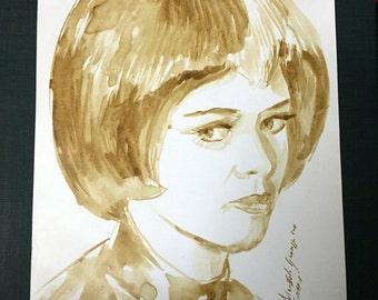 21 cm * 29 cm * A4 - SHADO - UFO - Gabriele Drake Lt Gay Ellis - TV Movie series 1970 - drawn coffee