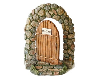 Miniature Fairy Garden Doorway Hinged Door Opens Gnome Door Stone and Wood Style Resin