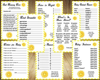 ALL 8 GAMES! Sunshine Baby Shower Games, Sunshine Baby Shower, You Are My Sunshine Baby Shower Games, Sun Baby Shower Games, Digital