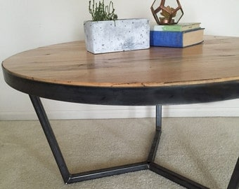 Custom Midcentury Style Steel Base Reclaimed Wood Coffee Table