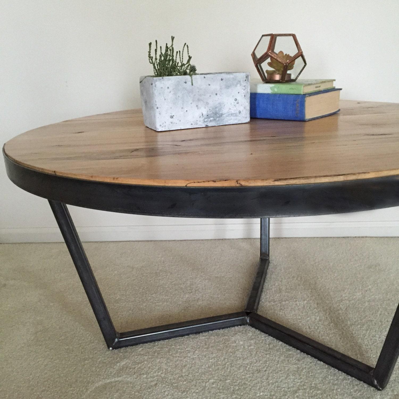 Custom Coffee Table Bases: Custom Midcentury Style Steel Base Reclaimed Wood Coffee Table