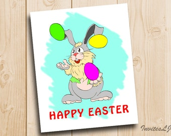 Easter Rabbit Print - Easter Decoration print Happy Easter - Happy Easter Printable - Easter printable