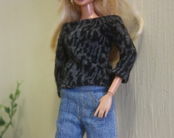 Barbie Clothes, Barbie Jeans and Top, Handmade, OOAK, Dollclothes