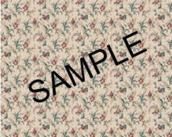 Quarter Scale, Half Scale and 1:144 Scale, Beige Floral Miniature Dollhouse Wallpaper (1B)