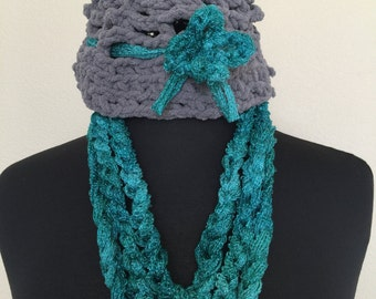 Children's Crochet Hat and Chain Scarf Set, girls clothing, girls accessory, gift set