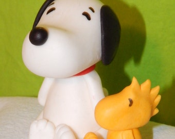 Snoopy and Woodstock Inspired Peanuts Fondant Cake Toppers