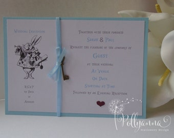 Bespoke Personalised Alice in Wonderland Postcard Invitation