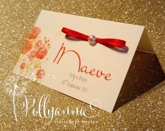 Bespoke Personalised Poppy Place Card