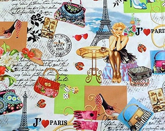 Timeless Treasures I Love Paris Fabric Paris Pinups Fabric Paris Girls Cotton Fabric Paris Theme Fabric by the yard Girl SALE