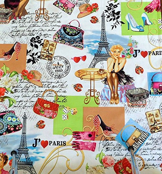 Paris Fabric By The Yard: Timeless Treasures I Love Paris Fabric Paris Pinups Fabric