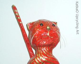 "Paper mache kitty ""Rossa"""