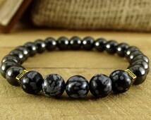 Mens Beaded Bracelet Mens Gift Hematite Bracelet Mens Jewelry Fashion Bracelet Mala Jewelry Gift For Men Style Jewelry Black Jewelry For Him