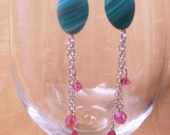 Dangle Earrings Crystal Rose
