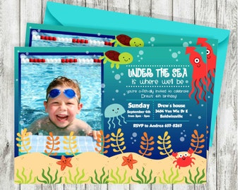 Under the Sea Birthday Invitation,Photo, Turtle, Octopus, Crab, Ocean Birthday Invitation, PRINTABLE INVITATION