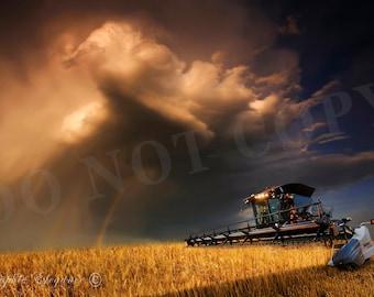 Metal Print, Aluminum Photo, Kansas, Wheat Harvest, Thunderstorm, Storm, Combine, Rainbow, Unique Gifts, Wall Art, Photography, Collage