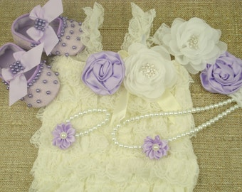 Baby lace romper Cream baby Petti romper set 1st birthday Ruffle romper Shoes lavender infant Headbands baby Outfit 5 pieces Gift newborn